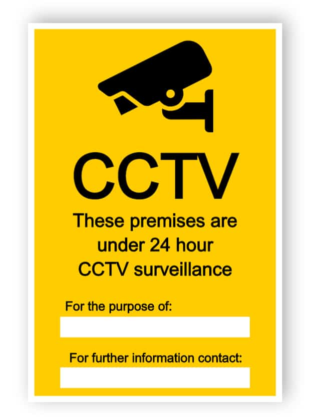 CCTV sign with two empty text boxes