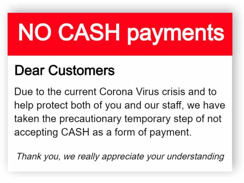 No cash payments sign