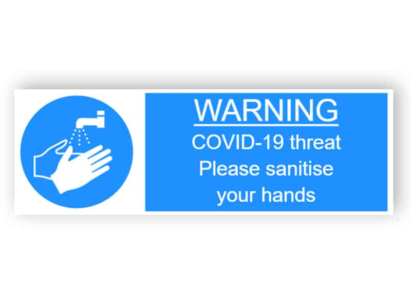 Warning - Covid-19 threat, please sanitise your hands - landscape sticker