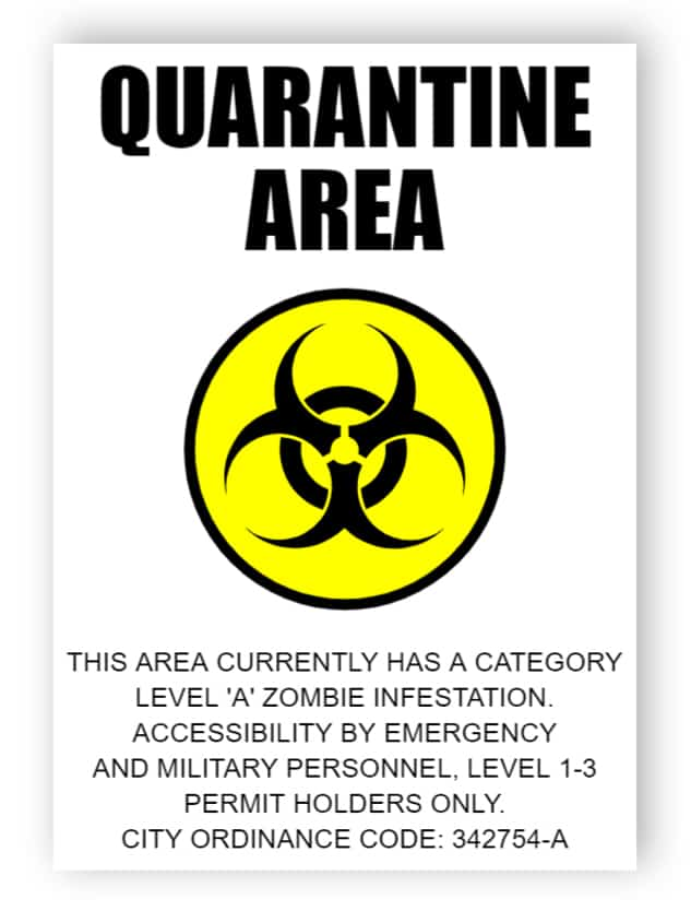Quarantine area - sticker