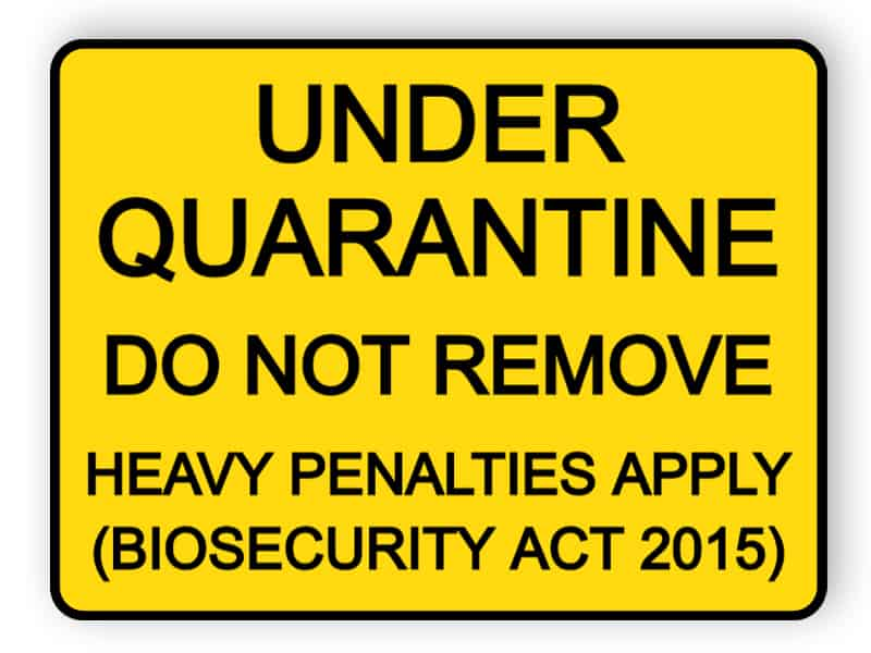 Under quarantine - do not remove - sticker