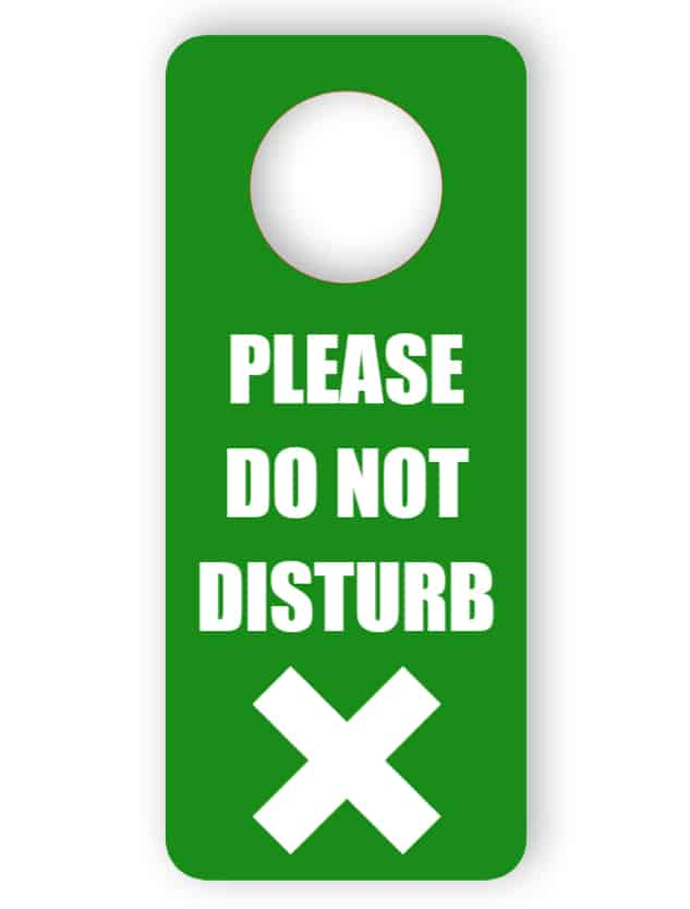 Do not disturb - green door hanger