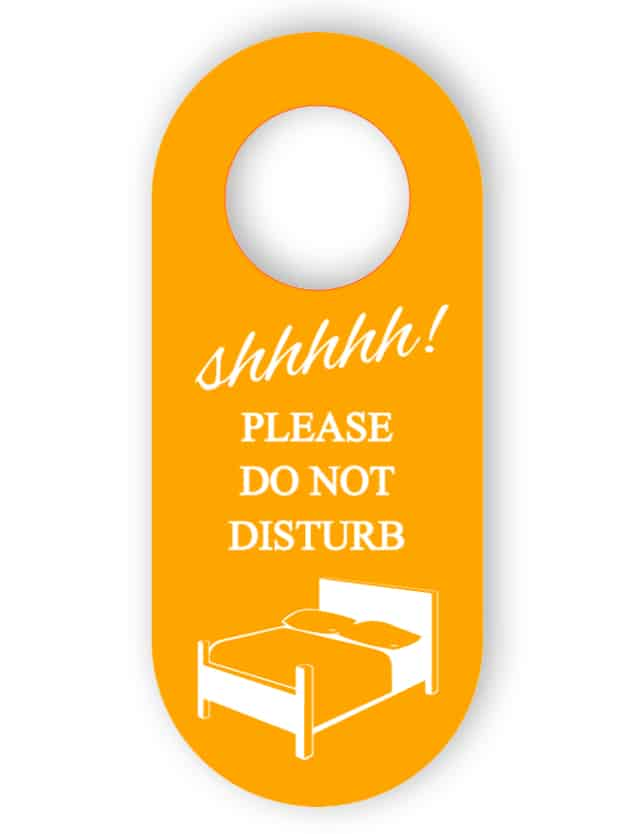 Do not disturb - orange door hanger
