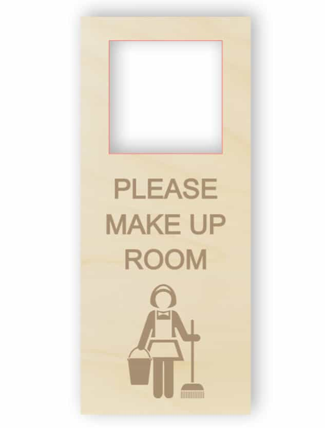 Make up the room - wooden door hanger