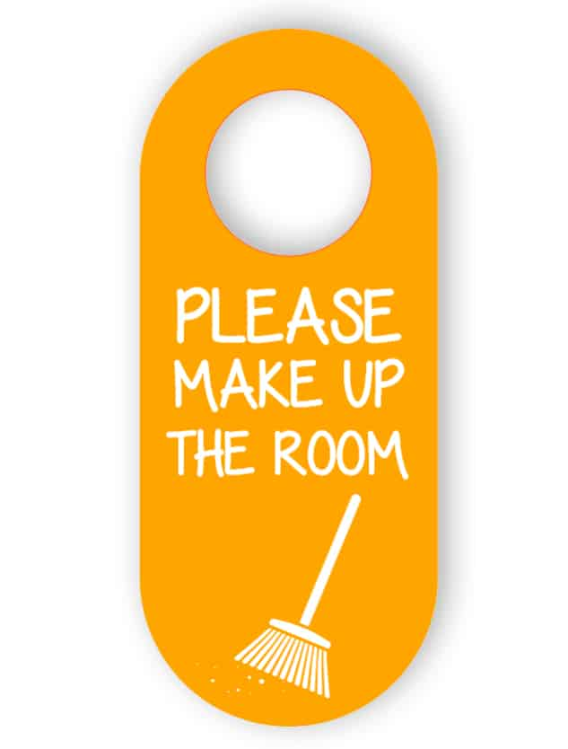Make up the room - orange door hanger