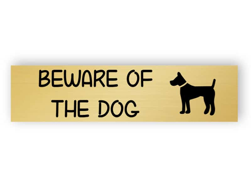Be careful - dog inside - small sign