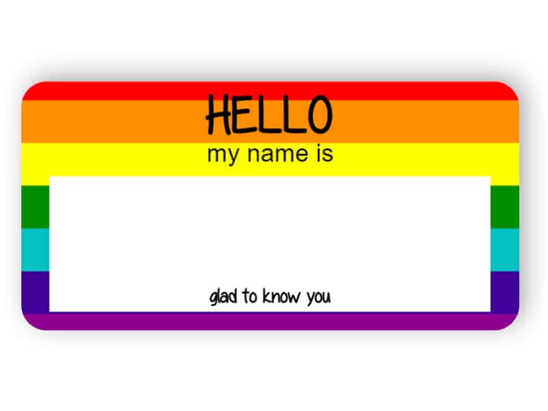 Hello my name is - rainbow name tag