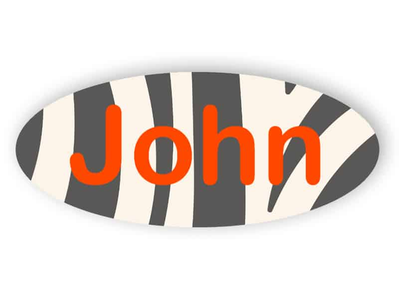 Rounded name tag - animal print