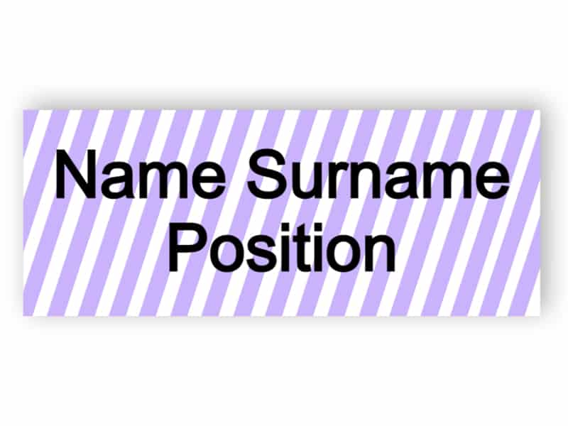 Name tag with violet stripes