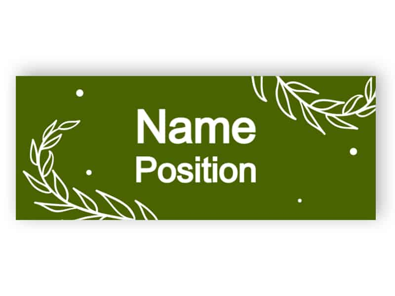Sage green name tag