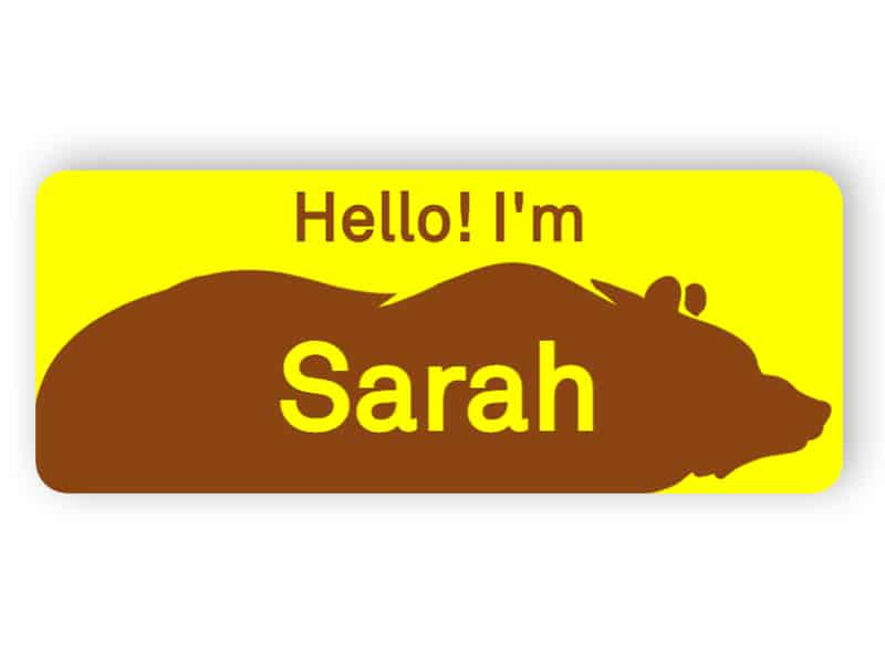 Name tag with bear