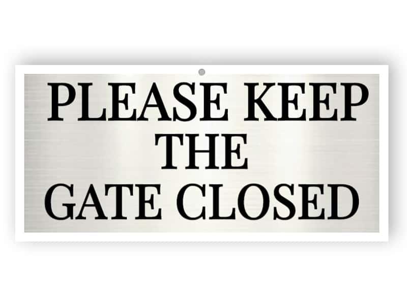 Aluminium gate sign