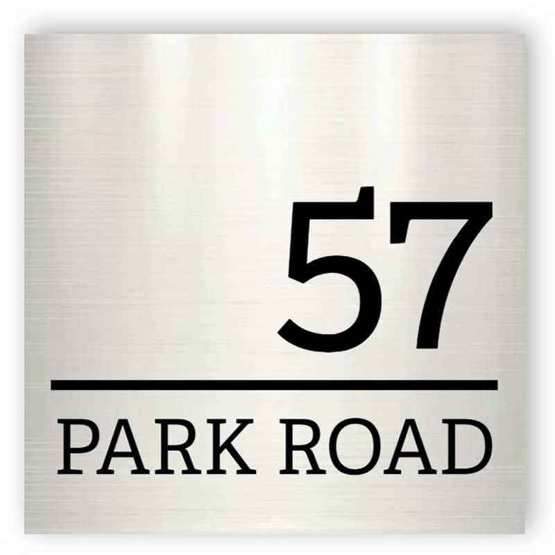 Aluminium house number sign