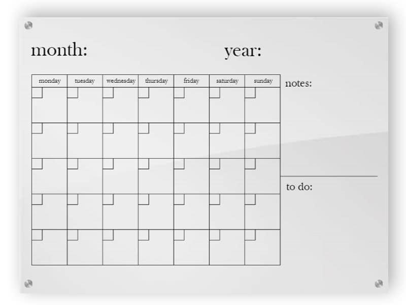 Horizontal Acrylic Calendar