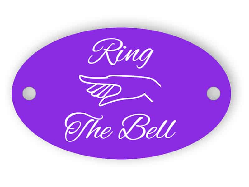 Ring the bell - round violet sign