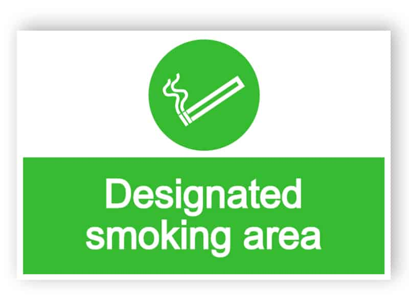 Designated smoking area sign 1