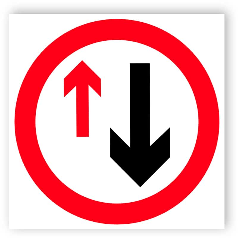 Priority must be given - directional sign
