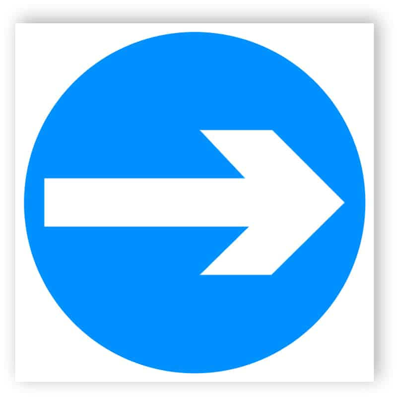 Vehicular traffic direction (right) sign