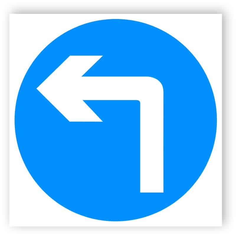 Vehicular traffic must turn ahead sign