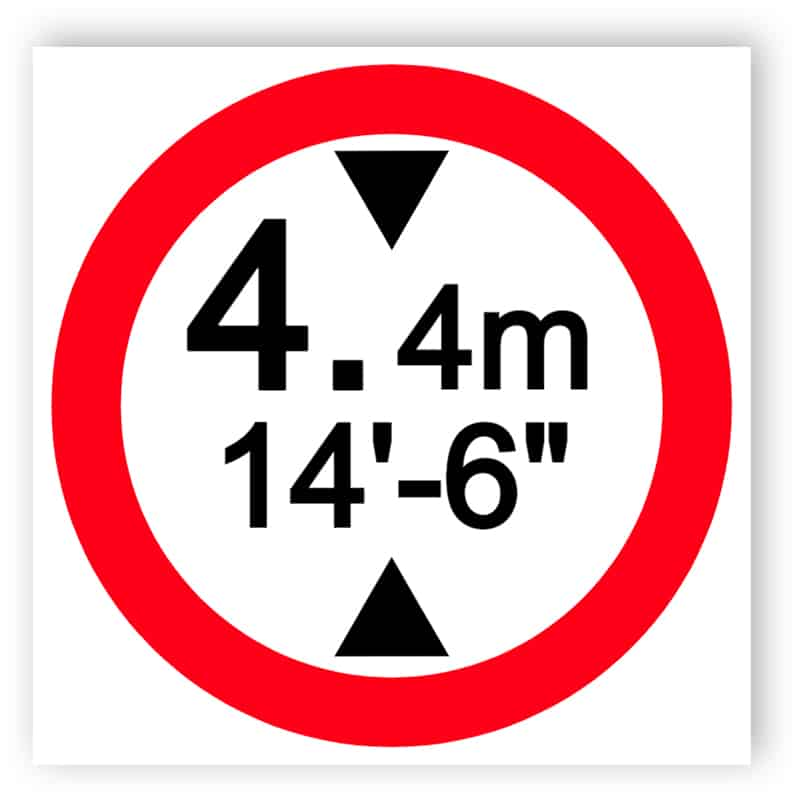 Vehicles exceeding height are prohibited sign