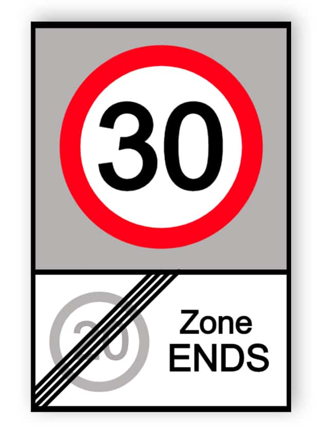End of 20 MPH zone and start of 30 MPH zone sign