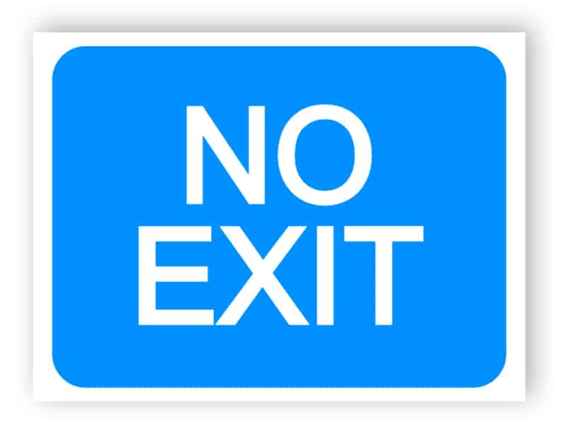 Exit from a car park not allowed sign