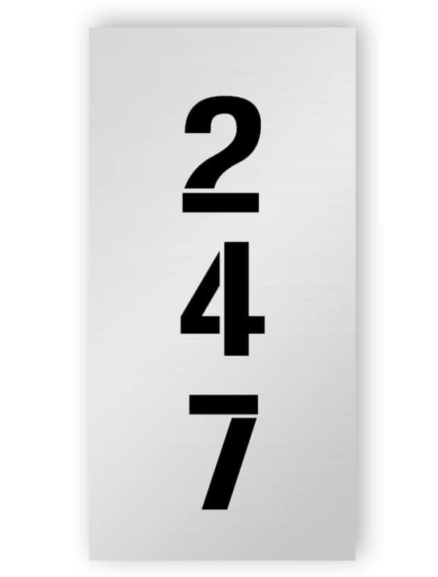 Silver rectangular door number