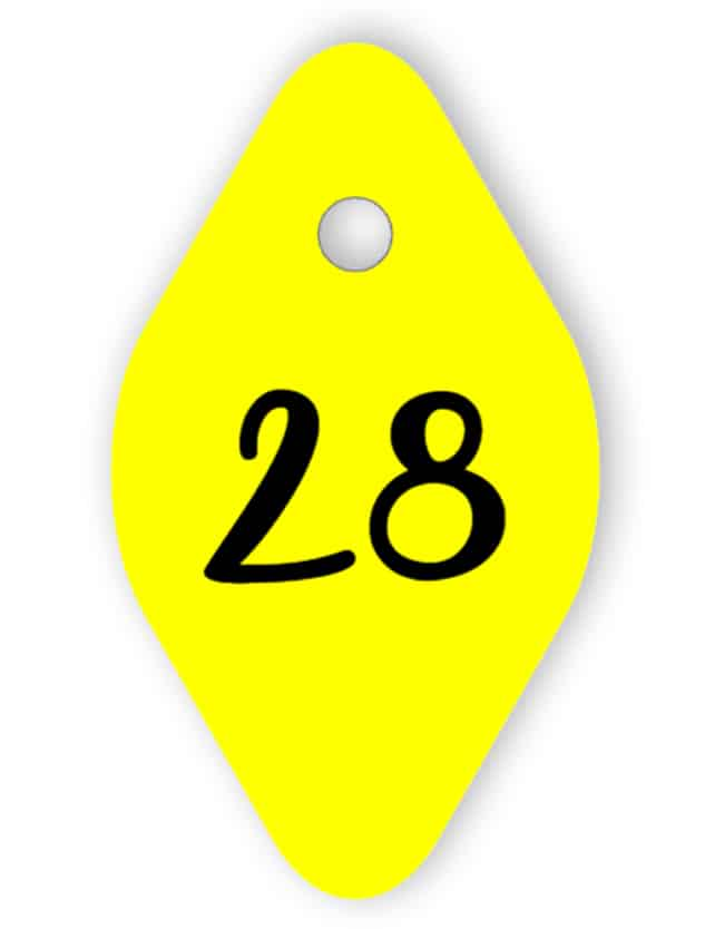 Yellow room key tag