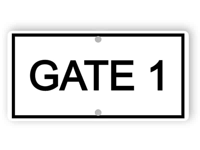 Gate 1 sign