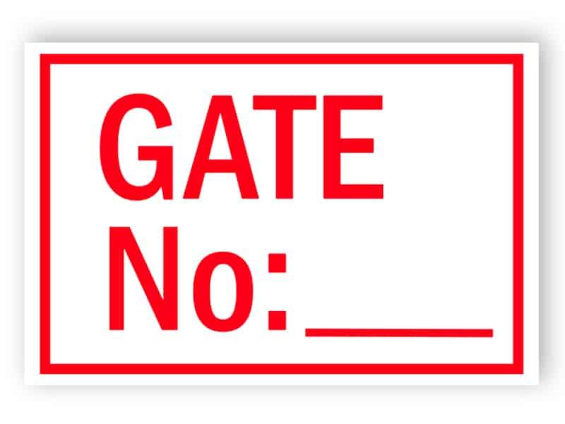 Gate sign No: