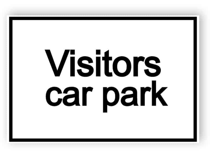 Visitors car park - white sign