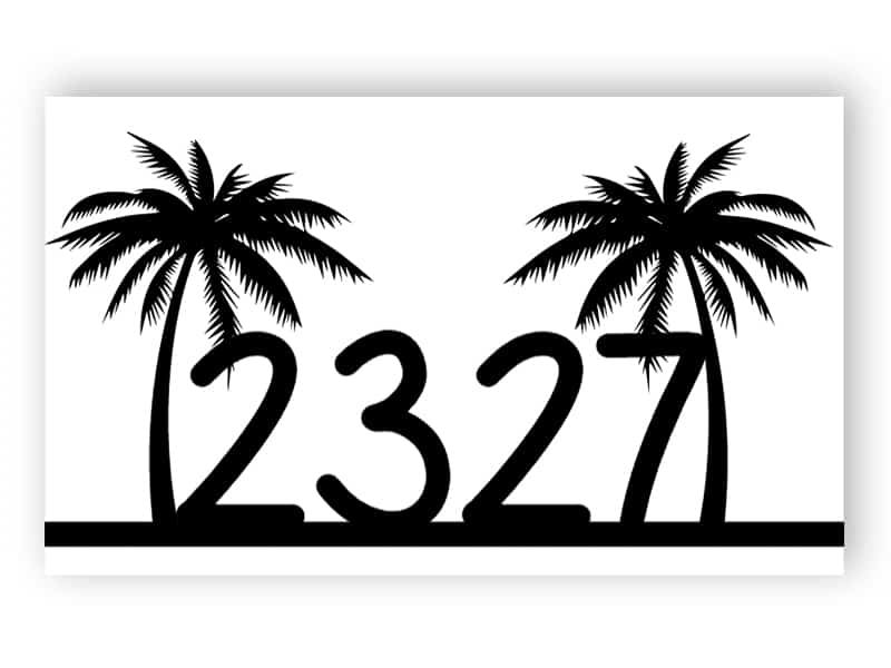 House number sign with palms