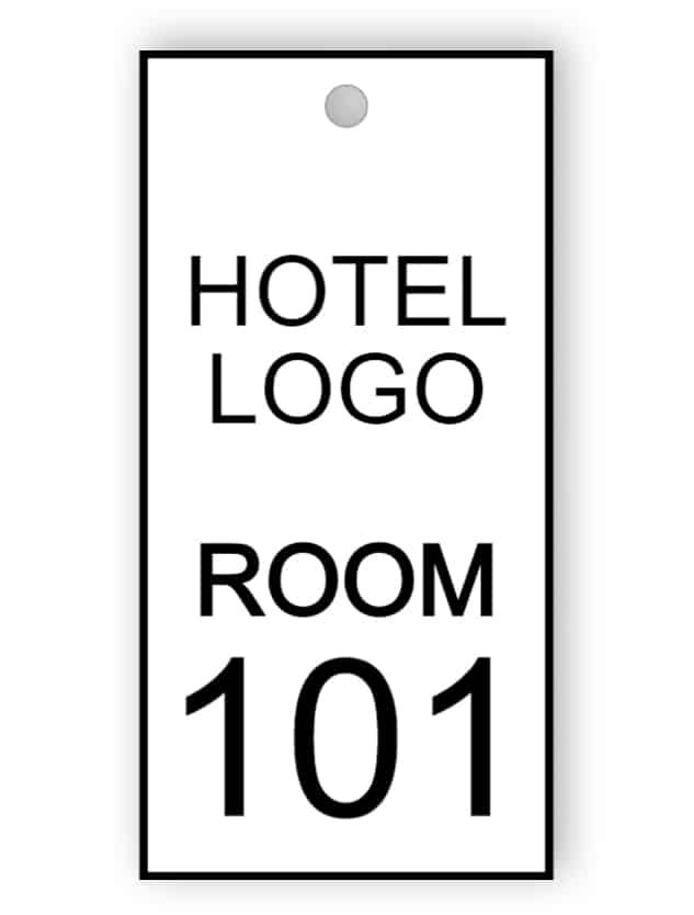 Black and white room key tag