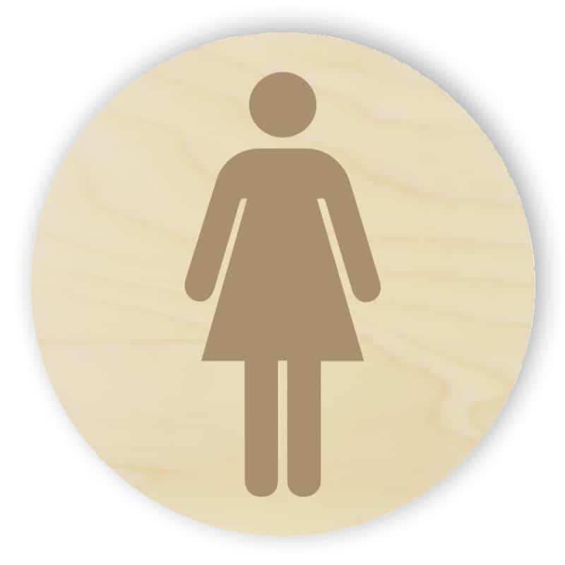 Wooden toilet sign - women