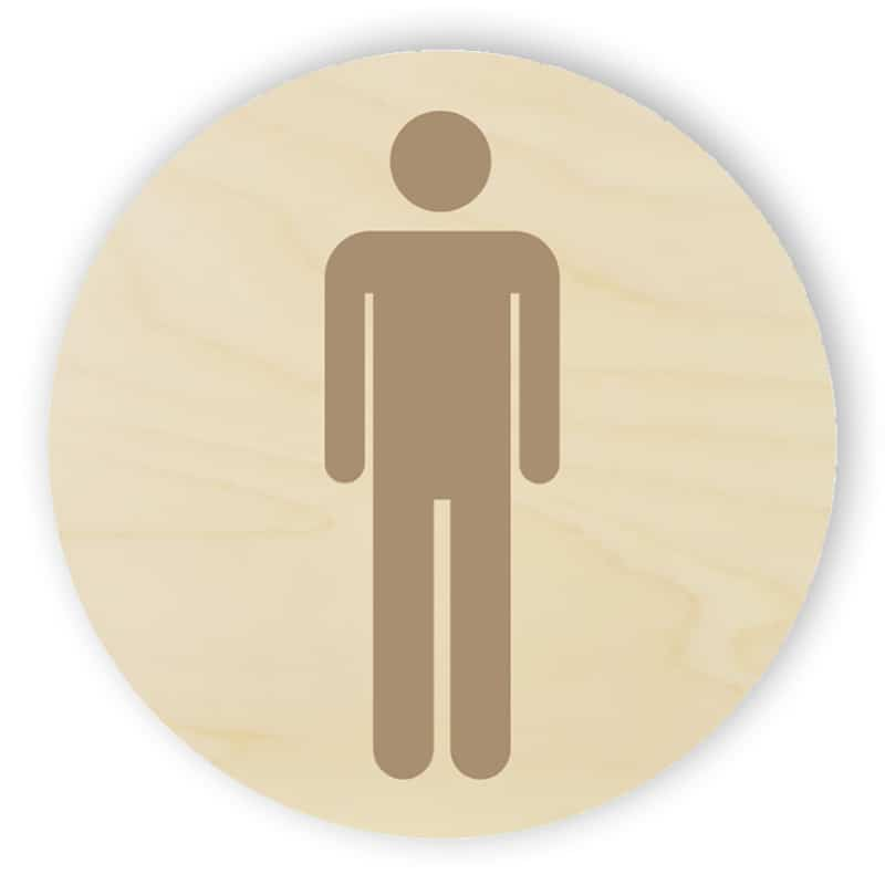 Wooden toilet sign - men