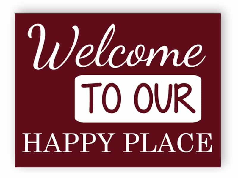 Burgundy welcome sign