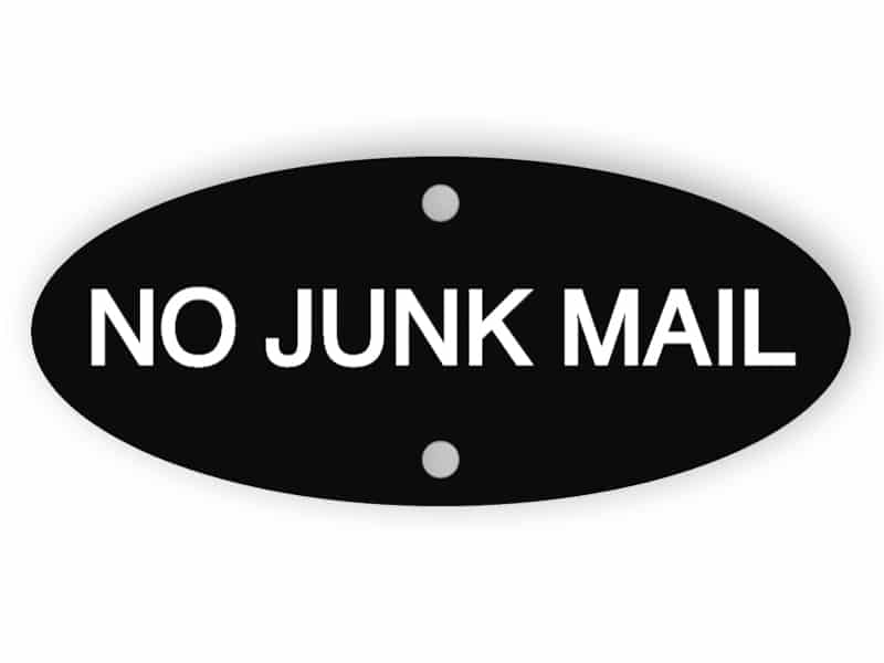 Black no junk mail sign