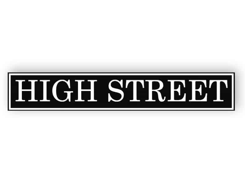 Black and white street name sign