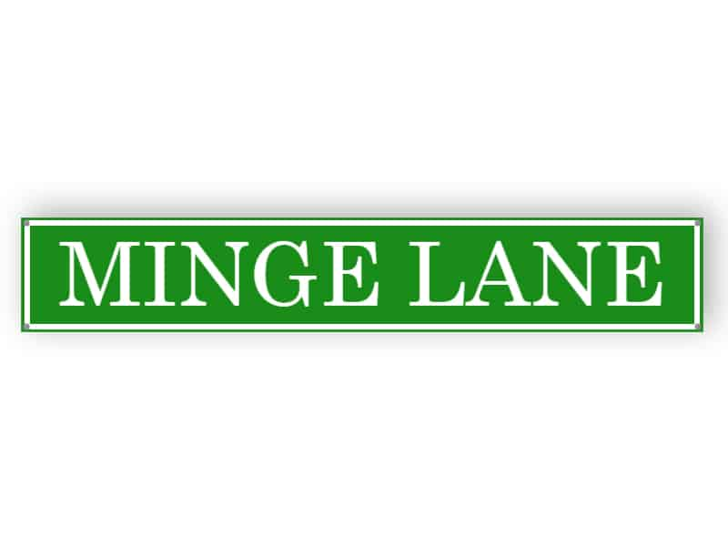 Green street name sign