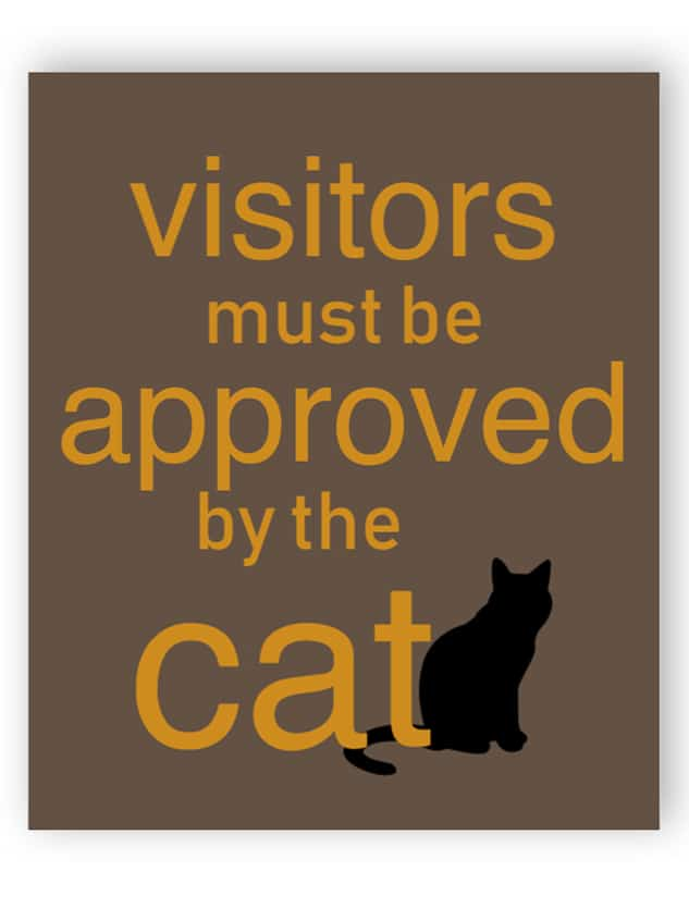 Visitors must be approved by the cat sign