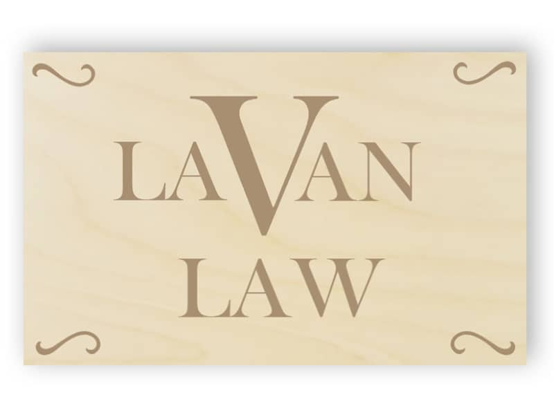 Wooden office sign