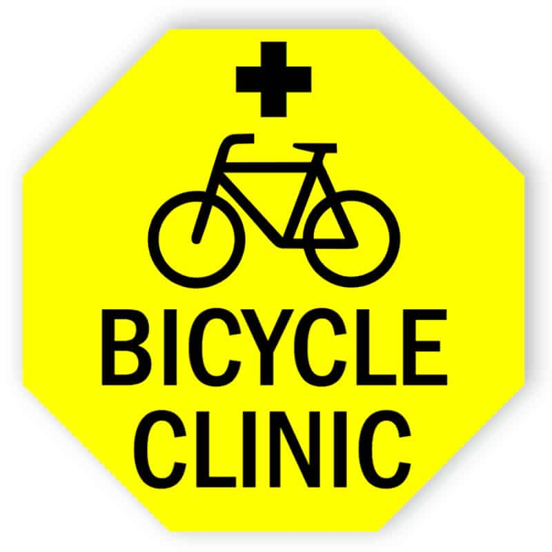 Bicycle clinic sign