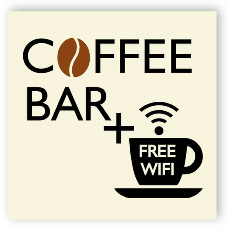 Cofee bar and free wifi sign