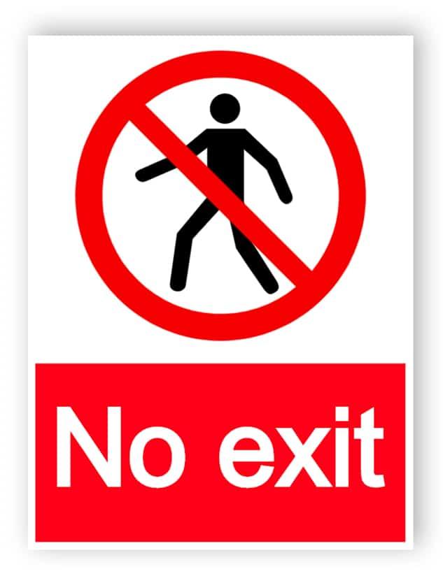 No exit with man sign