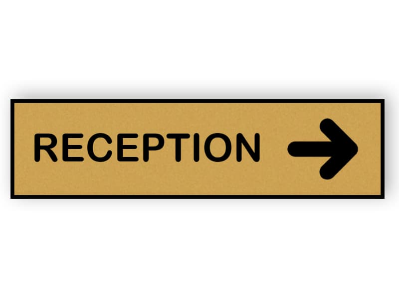 Reception sign with arrow