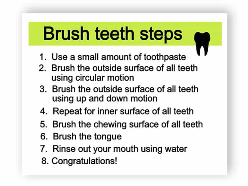 Brush teeth steps sign