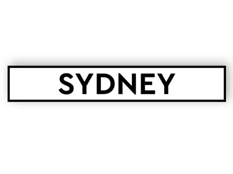 Sydney - white sign