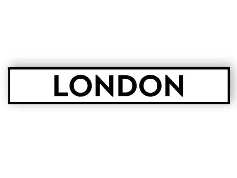 London - white sign