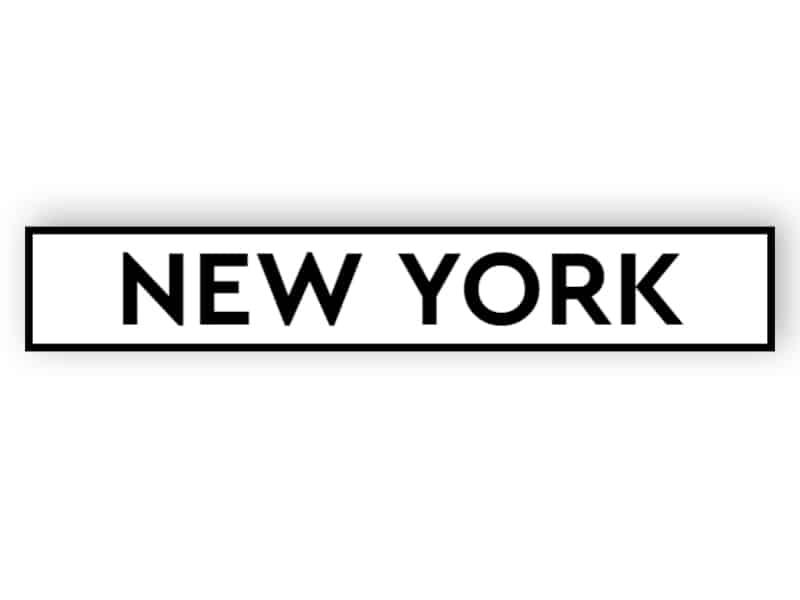 New York - white sign