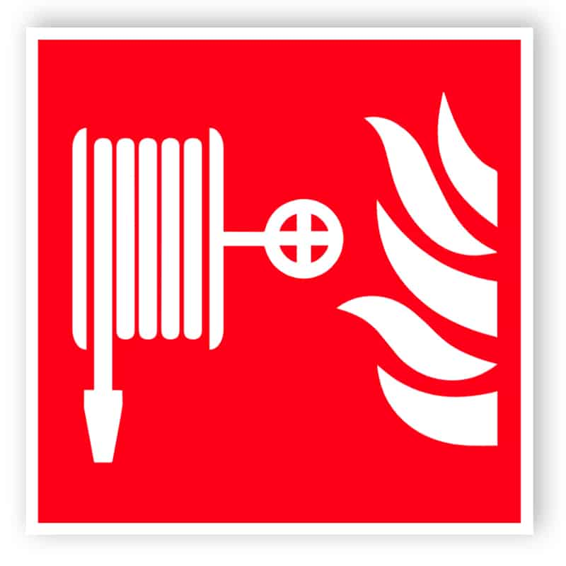 Fire hose reel symbol sign